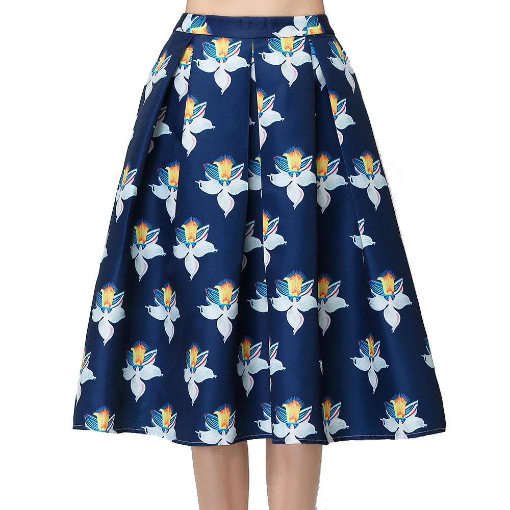 Wholesale Women Fashion Flower Print Ball Gown Skirt Umbrella Flared ...