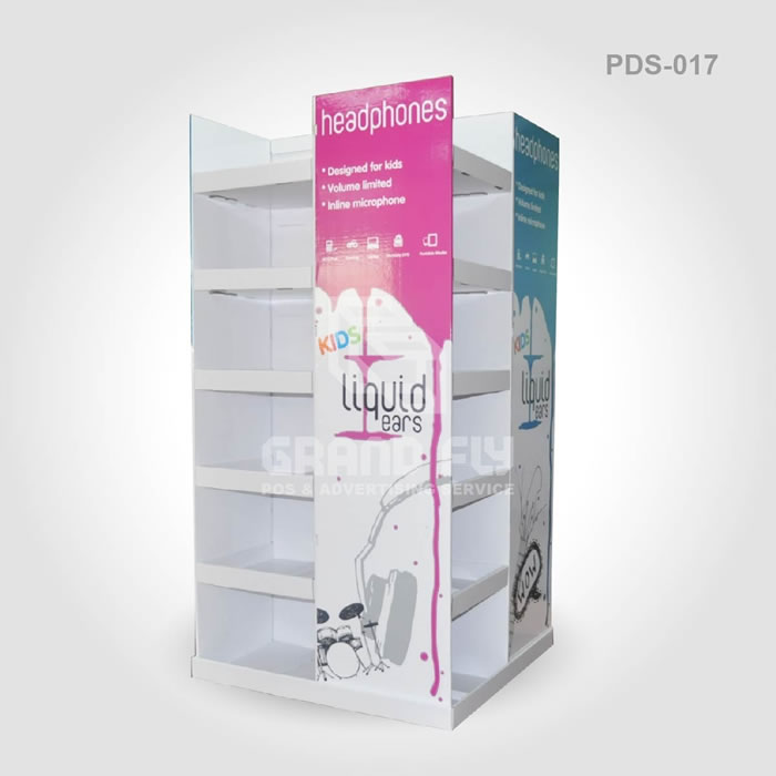 PDS017 hot sale custom design cardboard paper printed mobile phone accessories display stand four sides ear rack