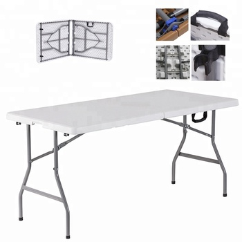 2019hotsale6 feet hdpe blow molding table fold in half/easy carring table fold up in the car/outdoor cheap camping fishing table