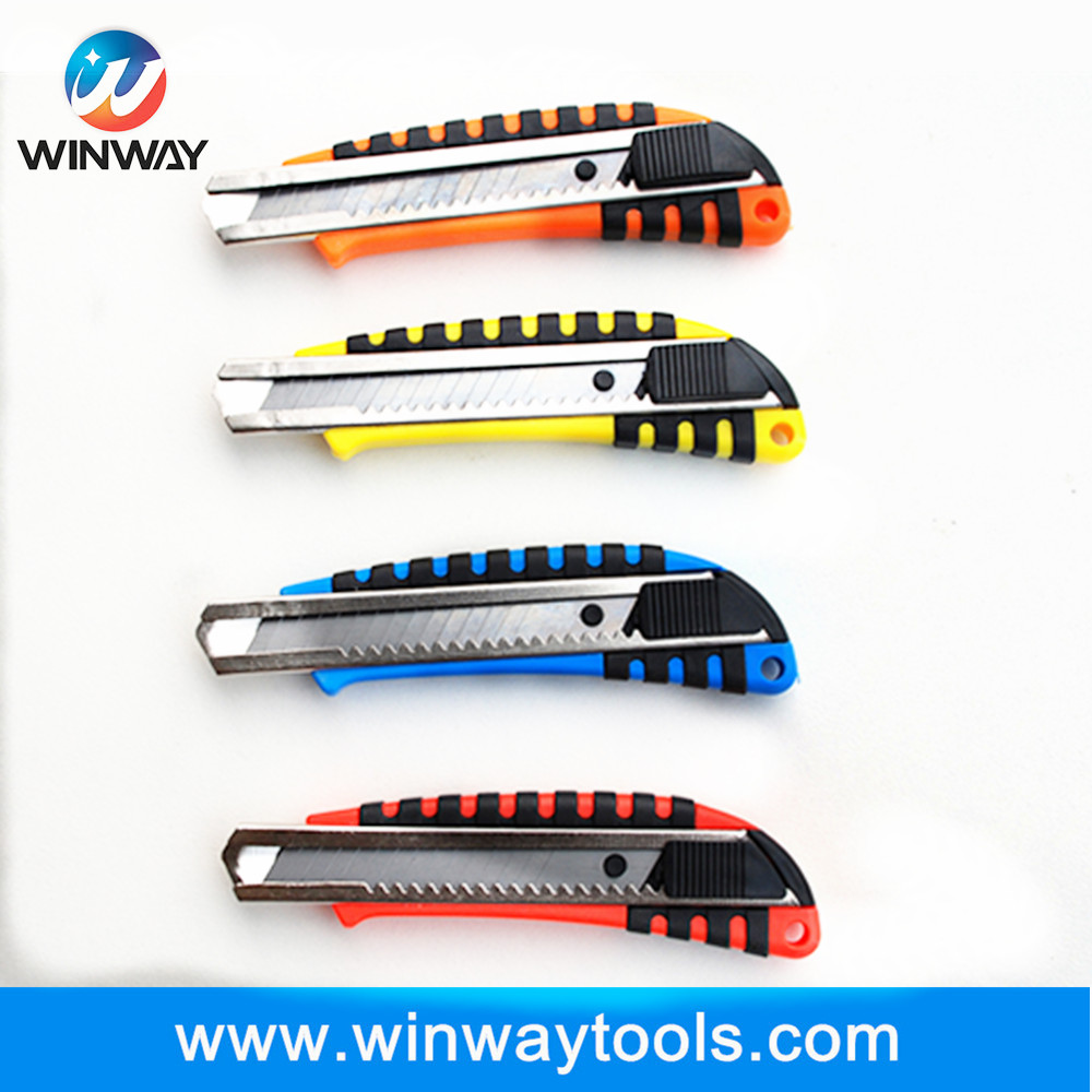 high quality snap retractable staninless utility knife/ heavy handle sliding blade with big switch cutter knife