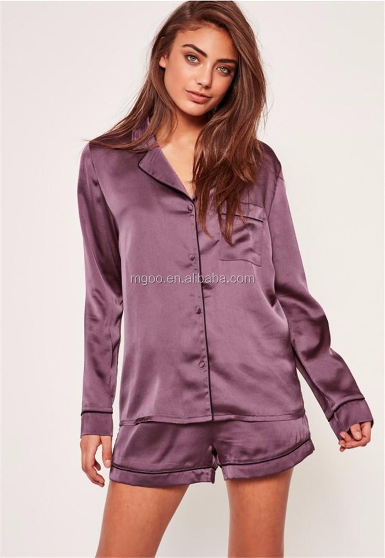 d8b785b7b1bc Women Purple Piping Detail Satin Pyjama Set Long Sleeve Top And Shorts  Plain Nightwear Pajama Set