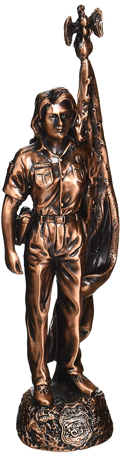 "StealStreet SS-BA-DC2091 11"" Bronze Woman Police Officer By American Flag Decorative Statue"