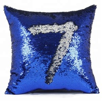 Brand LOGO Custom Number 7 Blue Cushion Cover Wholesale Home Decorative Sofa Seat Glitter Sequin Reversible Pillow