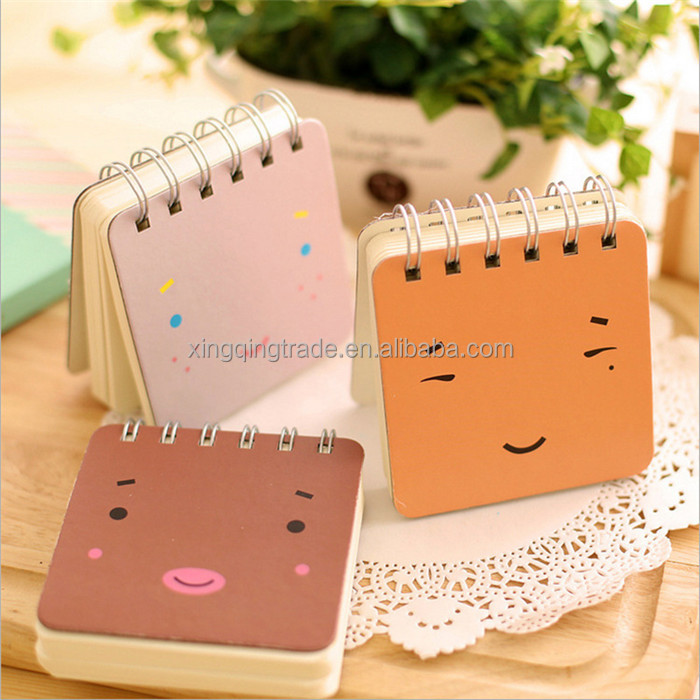 Kawaii Cute Expression Coil Spiral Notebook Portable Pocket Notebook for School Supplies