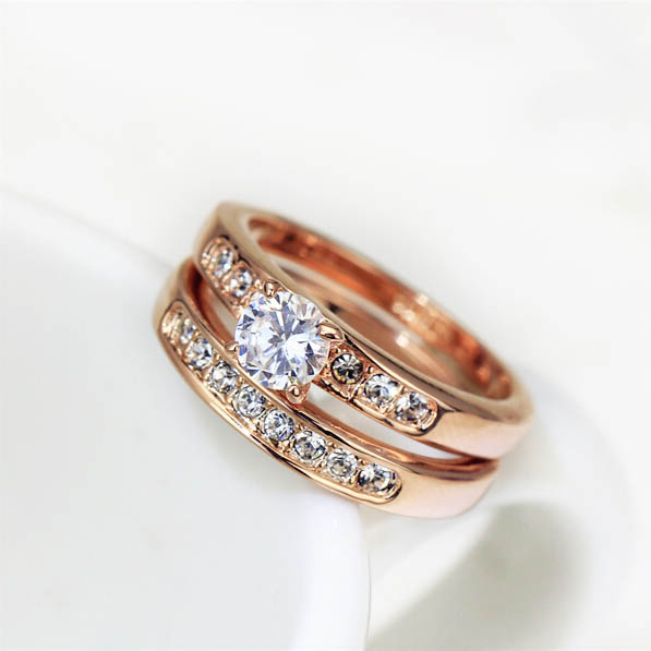 USTYLE 18K Gold Plated&White Gold Plated with Pave Band 0.5ct Brilliant Cubic Zirconia Wedding Ring Set JR0702