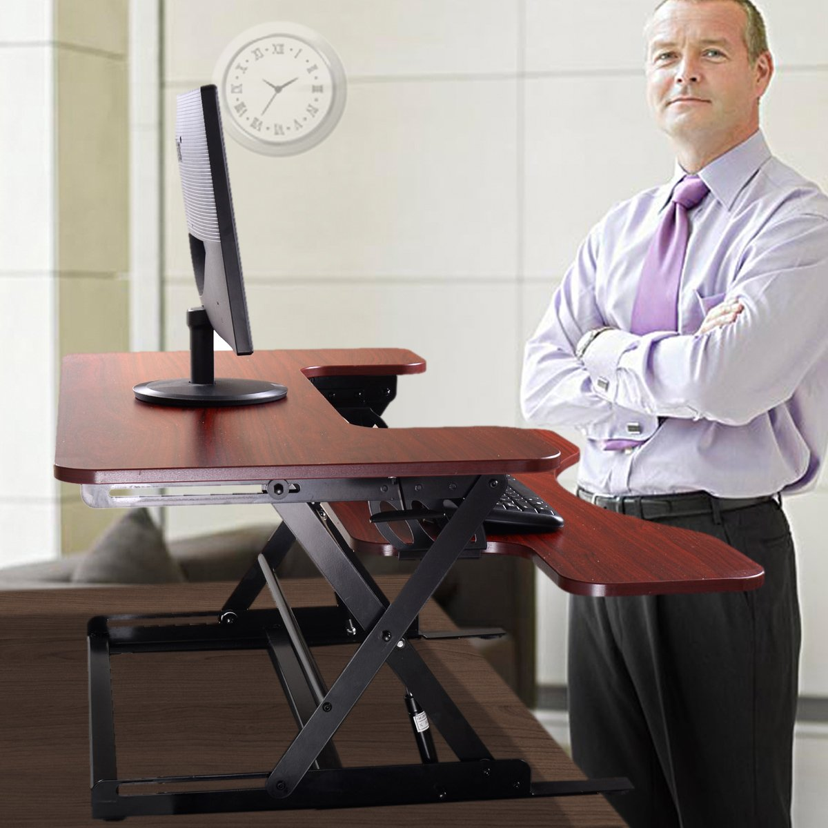 """JAXPETY Standing Desk - the DeskRiser - 36"""" Wide Adjustable Height Sit Stand Up Desk with Retractable Keyboard Tray supports 50 Lbs Heavy Duty - Fits Dual Monitors"""