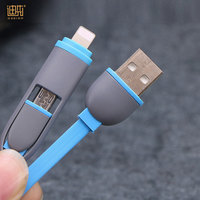 2019 New product factory price 2 in 1 micro usb data cable for Iphone for Android