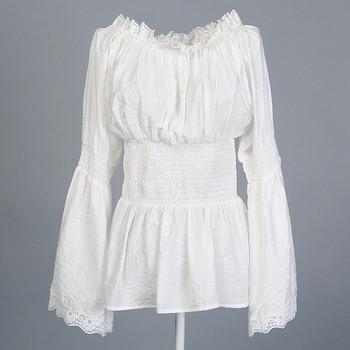 4b703341d Plus size mulheres roupas de design exclusivo retro 70's 40's tencel algodão  blusa de renda peplum