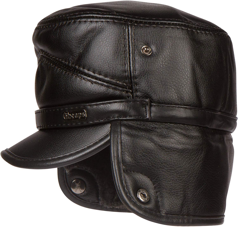 dde17cb0198 Get Quotations · Sakkas Eliott Warm Flat Cap Military Hat Faux Fur Lined  Convertible