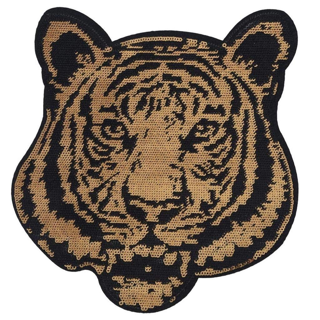 Futemo Cool Stylish Tiger Embroidery Sew Iron Patch Badge Clothes Bag Dress Applique Sequins (Gold)