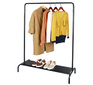 Metal clothes display rack / Hanging clothing rack with metal floor / Cloth display stand with shoe display