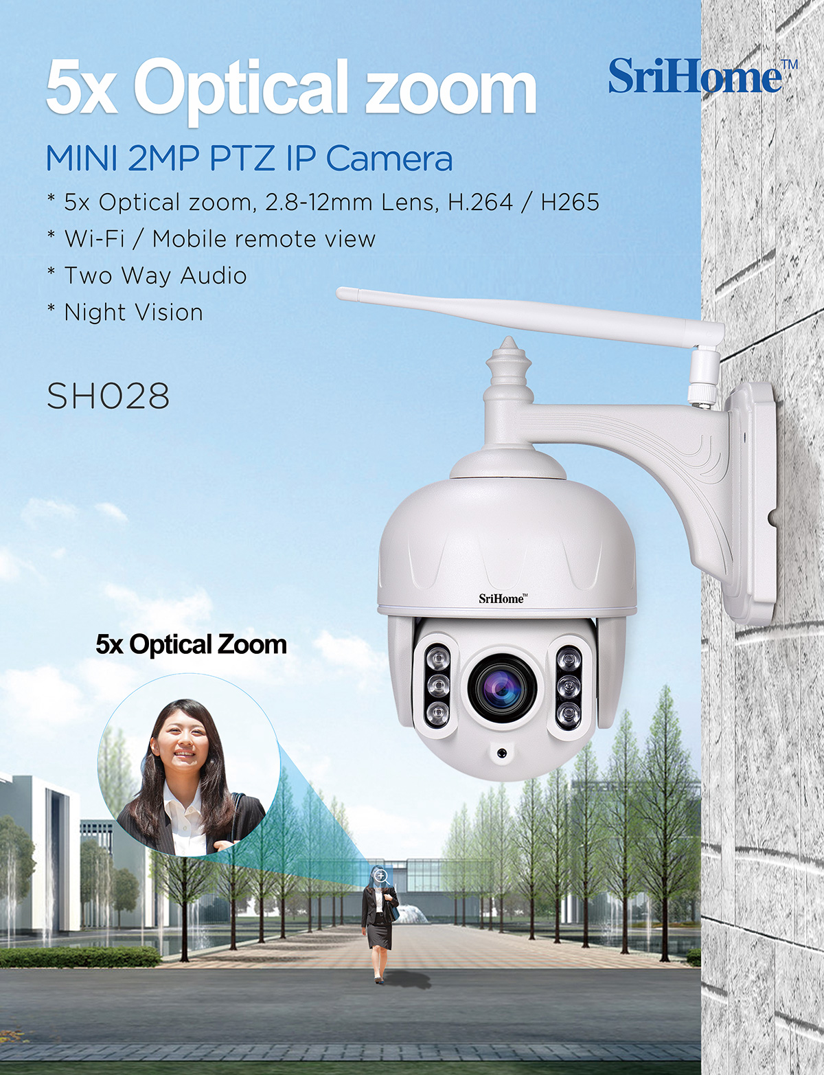 SriHome SH025 Indoor auto-tracking Camera IP Wireless 1080P motion tracking body ai smart Camera H.265 mini FHD megapixel Camera