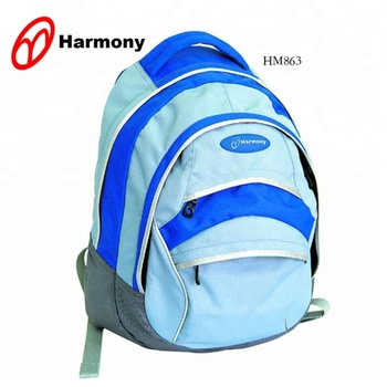 Factory direct new design teenagers school bag blue 600D outdoor hiking travel backpack