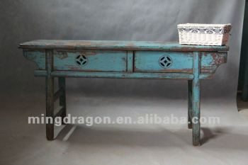 Chinese Antique Furniture Pine Recycle Wood Shanxi Blue Color Two Door Table