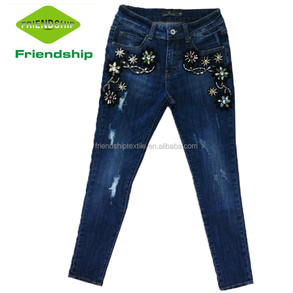 Hot Sale Beading And Embroidery Women Slim Fit Comfy Denim Trousers