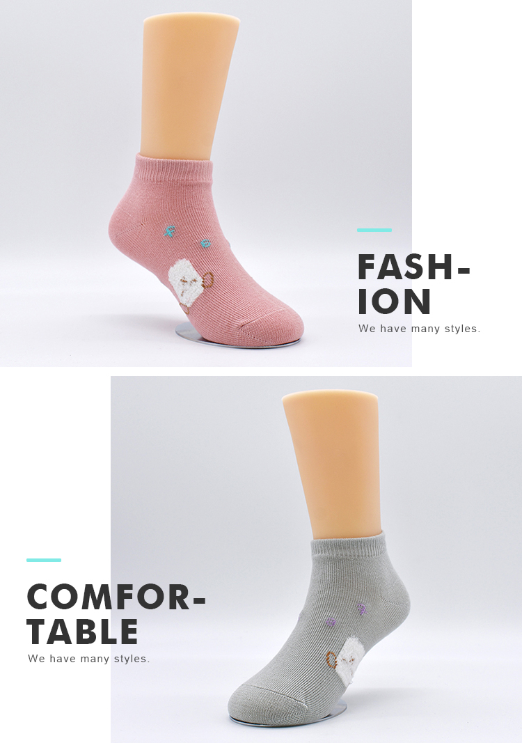 Custom Color Sheep Pattern Cartoon Kids Wholesale OEM Young Pretty Girl Teen Low Cut Ankle Socks