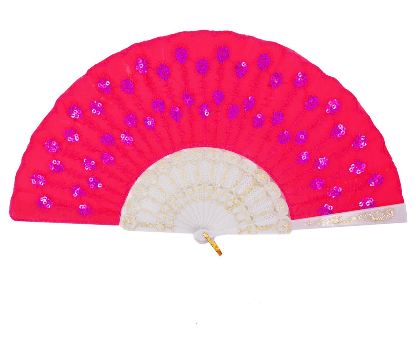 Buy Embroidered Fabric Lady Dance Dancing Fans Sequins Folding Hand
