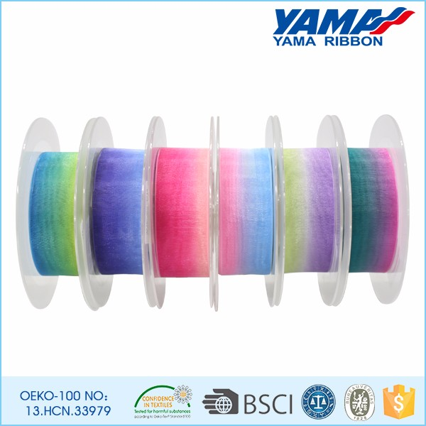 Wholesale high quality colorful rainbow sheer organza ribbon
