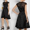 Black organza and twill neat cap sleeves and a full skirt lady and girls short daily dressTW1054D