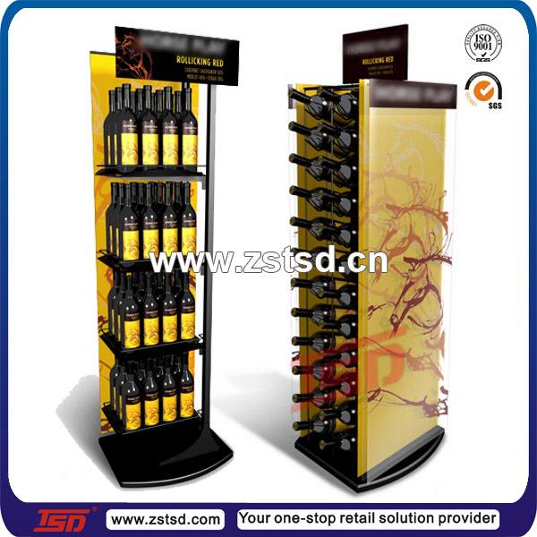 TSD M551 Custom Retail Store Floor Standing Liquor Bottle Display Stand Wine Fixture