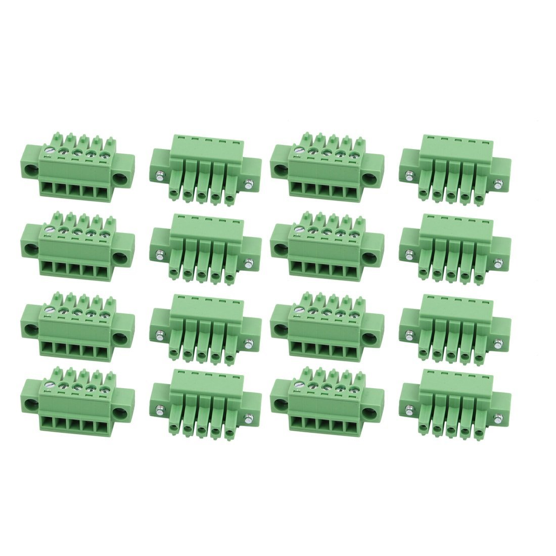 uxcell 15 Pcs LC1M AC300V 8A 3.5mm Pitch 5P PCB Mount Terminal Block Wire Connector