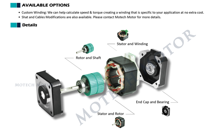 1.8 degree high torque Nema 17 stepper motor for 3D printer