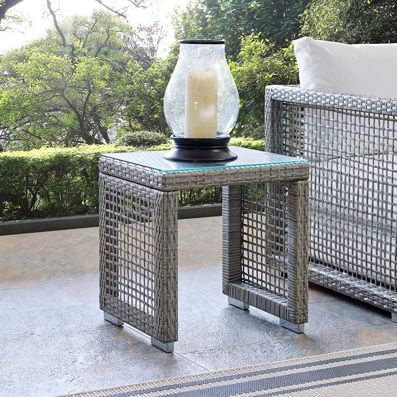 Modway EEI-2922-GRY Aura Outdoor Patio Wicker Rattan Side Table, Glass