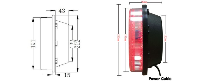 CE 200mm traffic light cores red bicycle