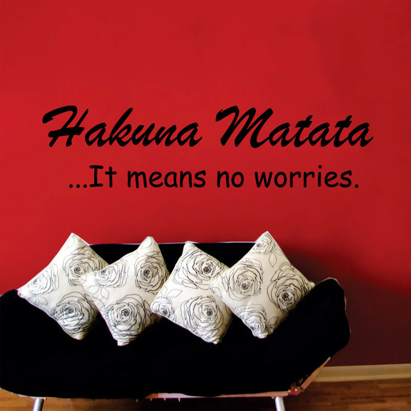It Means No Worries Black Vinyl Art Wall Sticker Living Room Removable Simple Design Home Decor