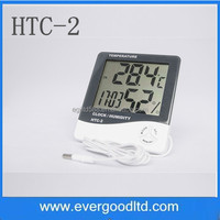 HTC-2 High-accuracy LCD Digital Thermometer Hygrometer Electronic Temperature Humidity Meter Clock Weather Station