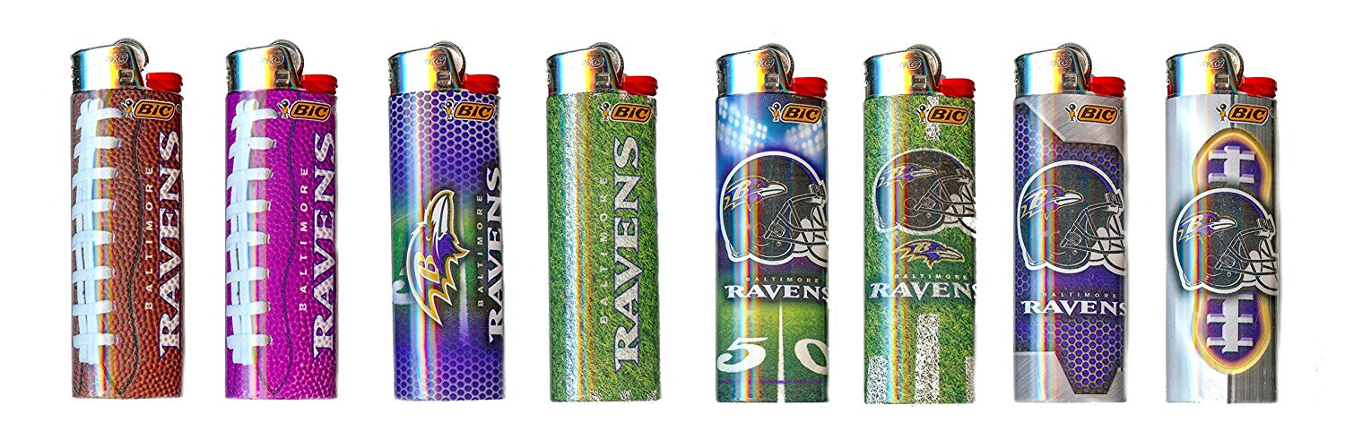 Bic Baltimore Ravens NFL Officially Licensed Cigarette Lighters 8 Pack