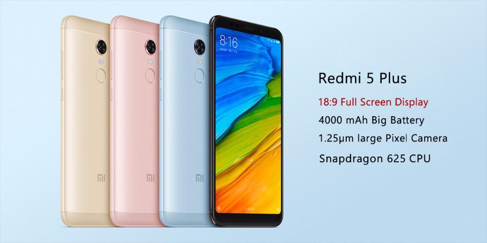 Mobile Phones Original Xiaomi Redmi 5 Plus 4gb Ram 64gb Rom Mobile Phone Snapdragon 625 Octa Core 5.99 18:9 Full Screen 4000mah Battery