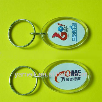2012 Sell well clear acrylic plastic key ring