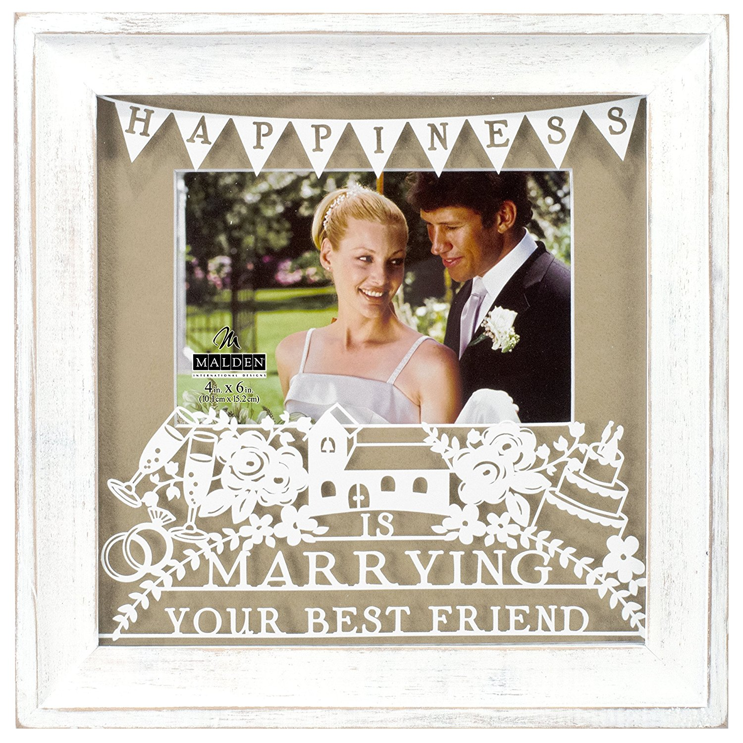 """Malden International Designs White Distressed Wood With Tan Mat And Silkscreened Happiness is Marrying Your Best Friend on The Glass Picture Frame, 4 X 6"""""""