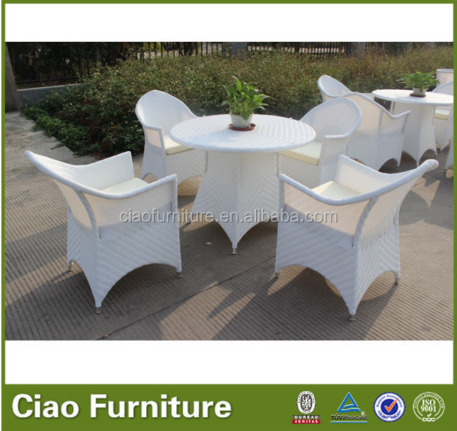 aluminum outdoor white wicker terrace table set garden furniture