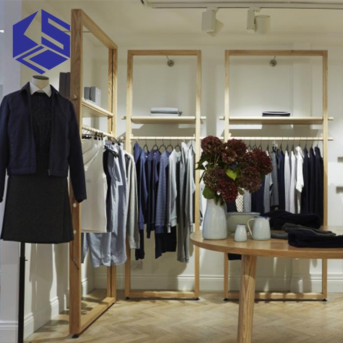 KSL Tailor Shop Interior Design Decoration Wooden Display Rack For Man Clothes