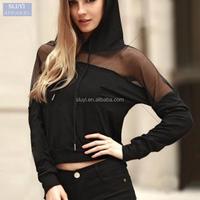 sweatshirts customized hoodies 2017 Spring Mesh Long Sleeve fitted hoodies Women Cropped sweatshirts ladies plain black hoodie