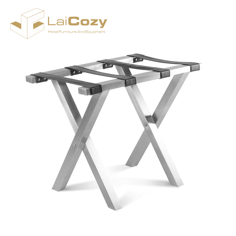 LAICOZY Hotel Supplies Wholesale White Folding Stainless Steel Luggage Rack