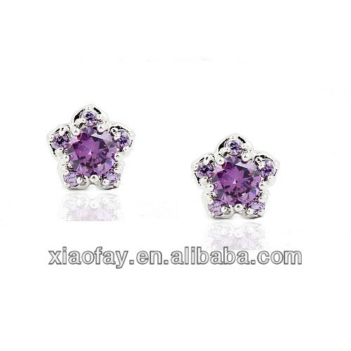 2013 New fashion collette Z Sterling Cubic Zirconia Round Stud Earrings
