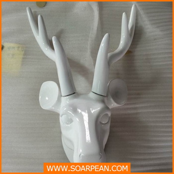 Christmas Wall Decorative White Fibergl Deer Head