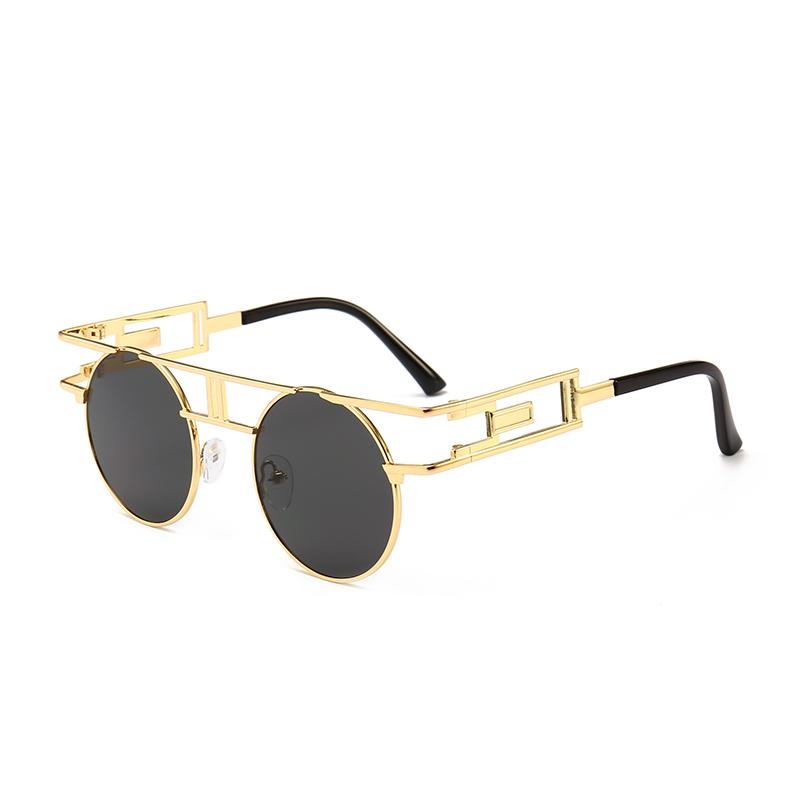434b4e4c66886a 11436 Superhot Eyewear Metalen Frame Stoom punk zonnebril Kleine Ronde  Steampunk Zonnebril