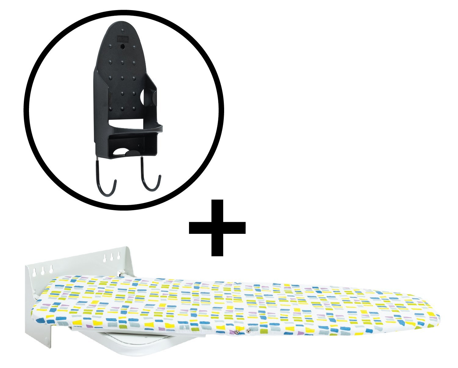 Primica Wall-Mounted Ironing Board - Additional Iron Rest - Durable, Safe and Stable - Easy to Mount and Use - Swivels 90° in Both Directions - Stylish Design