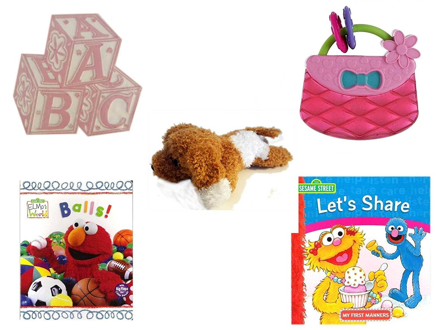 Children's Gift Bundle - Ages 0-2 [5 Piece] - ABC Baby Blocks Cake Topper Pink Girl - Bright Starts Pretty in Pink Carry Teethe Purse - Amazimals Brown & White Puppy - Elmo's World First Flap-Book -