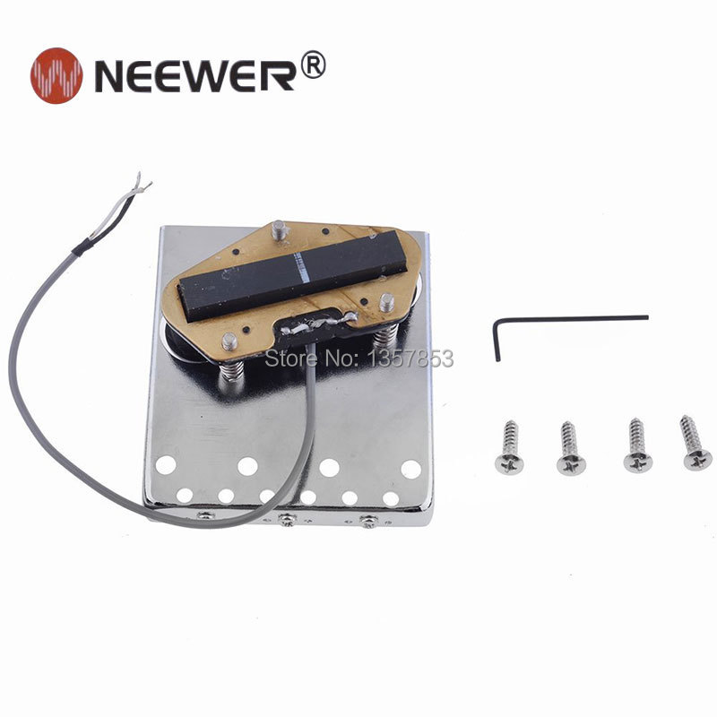 neewer chrome plated 3 saddle bridge with pickup for fender telecaster tele tl style electric. Black Bedroom Furniture Sets. Home Design Ideas