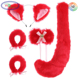 F569 Anime Costume Cat Fox Cosplay Set Tail Ears Neckwear Bracelet Japanese Anime Costume