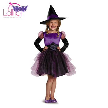 China factory customized cute witch halloween carnival costumes kid friendly
