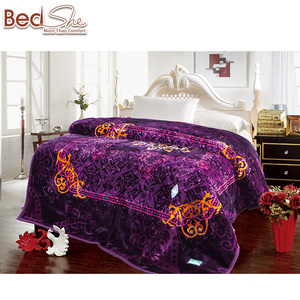 NEW! 100% polyester super soft purple color wholesale india 2ply winter blankets