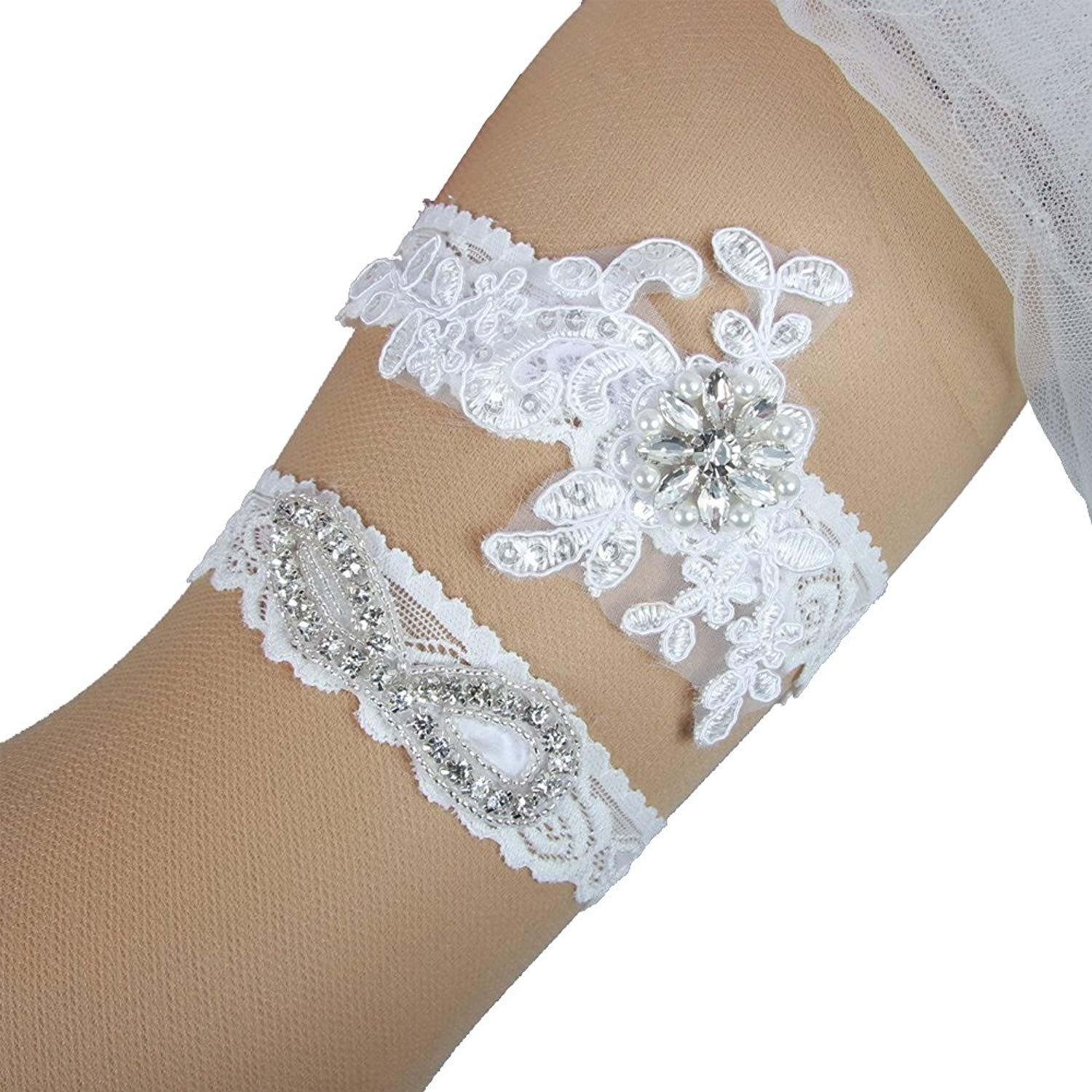 cc9d1bbec Get Quotations · LMIKELING Wedding Leg Garters Plus Size Crystals Beads Lace  Wedding Bridal Garters for Women
