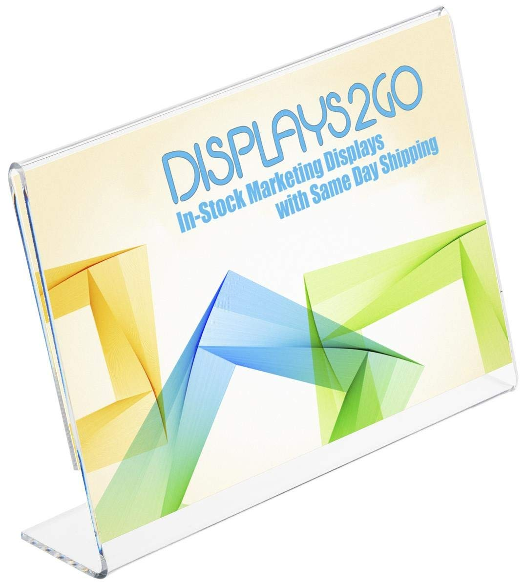 """Set of 20, Lucite Sign Holders, Clear Acrylic Desktop Picture Frames Accommodate 7""""w x 5""""h Promotions, Slant Back Angled Display"""