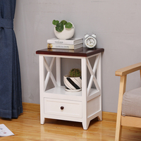 wooden narrow storage night table with drawer